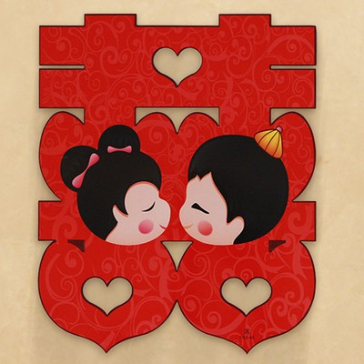 Chữ Song Hỷ Chibi  trang trí phòng cưới - đám cưới - tiệc cưới - Vu Quy - Đám hỏi