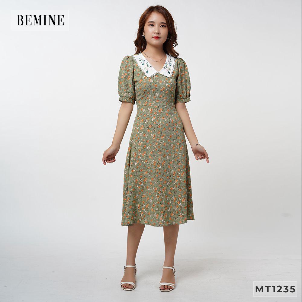 Đầm hoa phối cổ thêu BEMINEMT1235XANH
