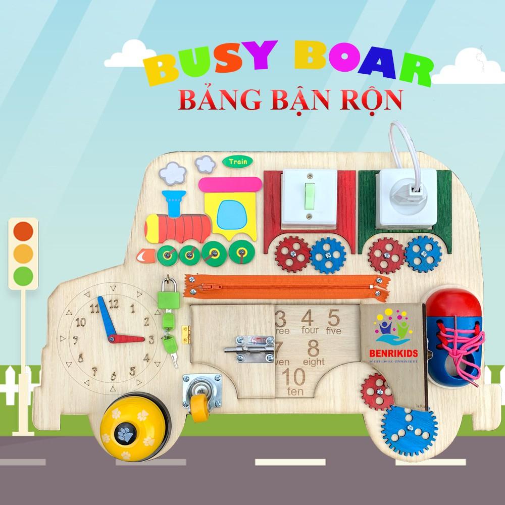 Đồ Chơi Trẻ Em,Bảng Bận Rộn Busy Board Hình Xe Bus Giúp Bé Luyện Kỹ Năng Toàn Diện