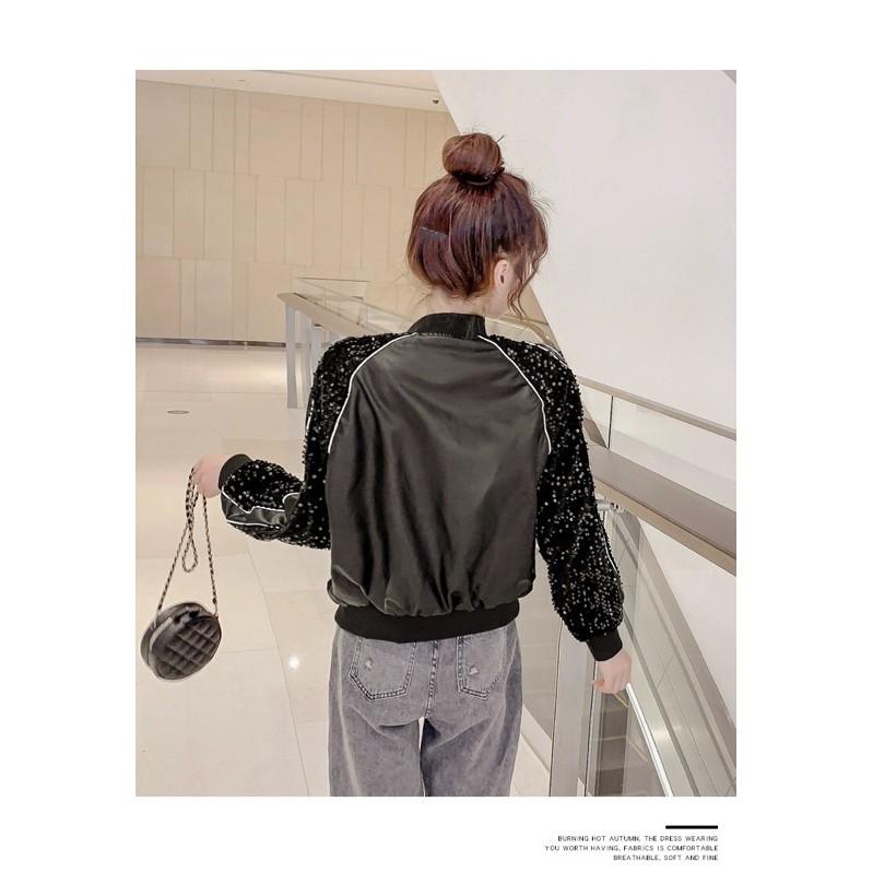 [Mã FADIRECT20 giảm 20k đơn từ 150k] FRISHIP 50K - Áo khoác da viền kim tuyến - áo khoác da nữ-saoshop