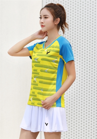 2021 New Arrival victory Badminton Clothes Breathable Quick-Dry Stripe Jersey Shirts+Shorts woman Sets Couple Sets yellow