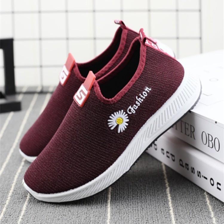 Giày lười vải nữ đi bộ - 3 sọc thoáng khí có 2 màu