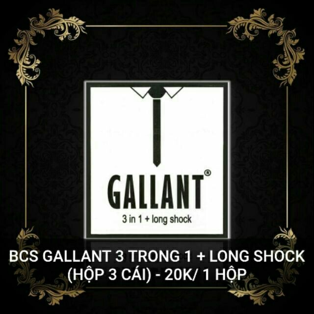 Bao cao su Gallant 3 in 1 Longshock - Hộp 3psc Chính Hãng Nga
