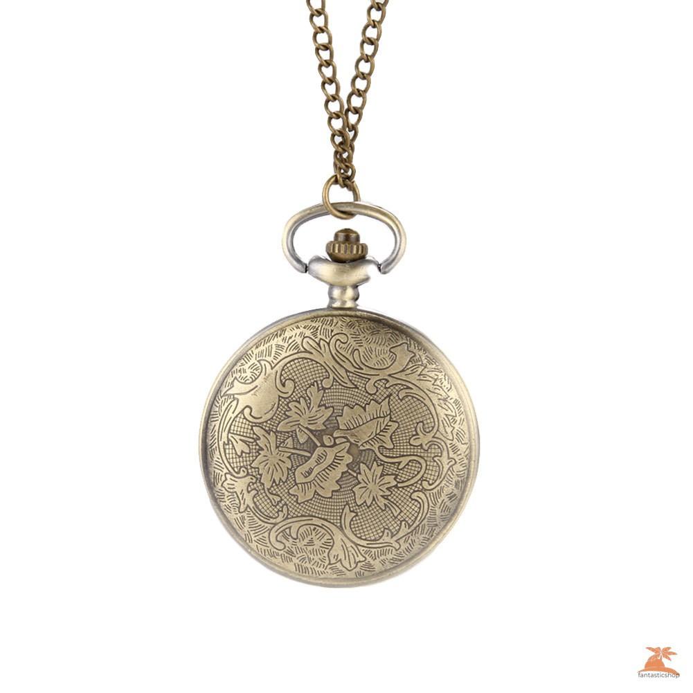 #Đồng hồ bỏ túi# Vintage Retro Flower Hollow Out Cover Quartz Pocket Watch Sweater Chain Necklace Pendant Clock Gifts