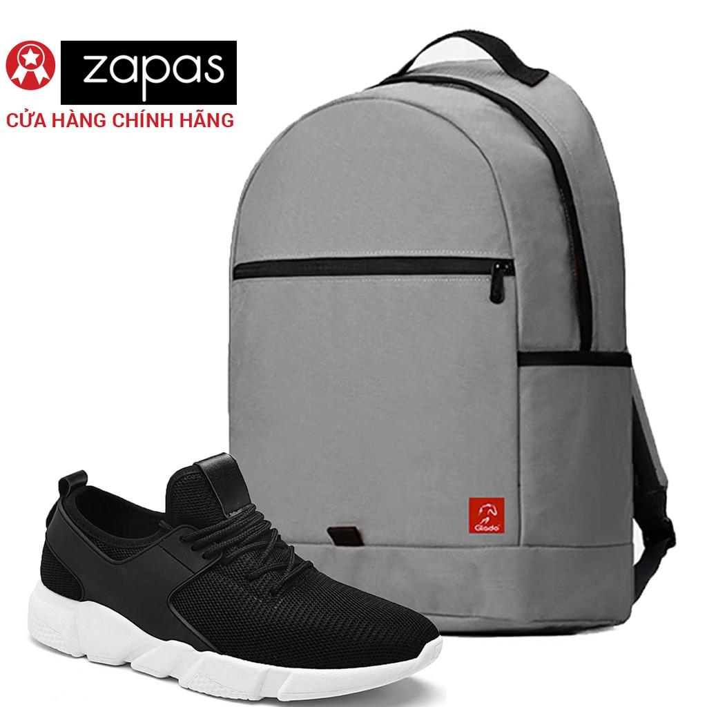 Combo Balo Du Lịch Glado Classical BLL006 (Xám) Và Giày Sneaker Thể Thao Zapas GS080 (Đen)
