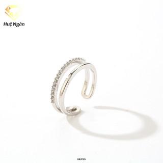 Nhẫn bạc 925 Huệ Ngân - Free size mảnh 2 vòng RR1723