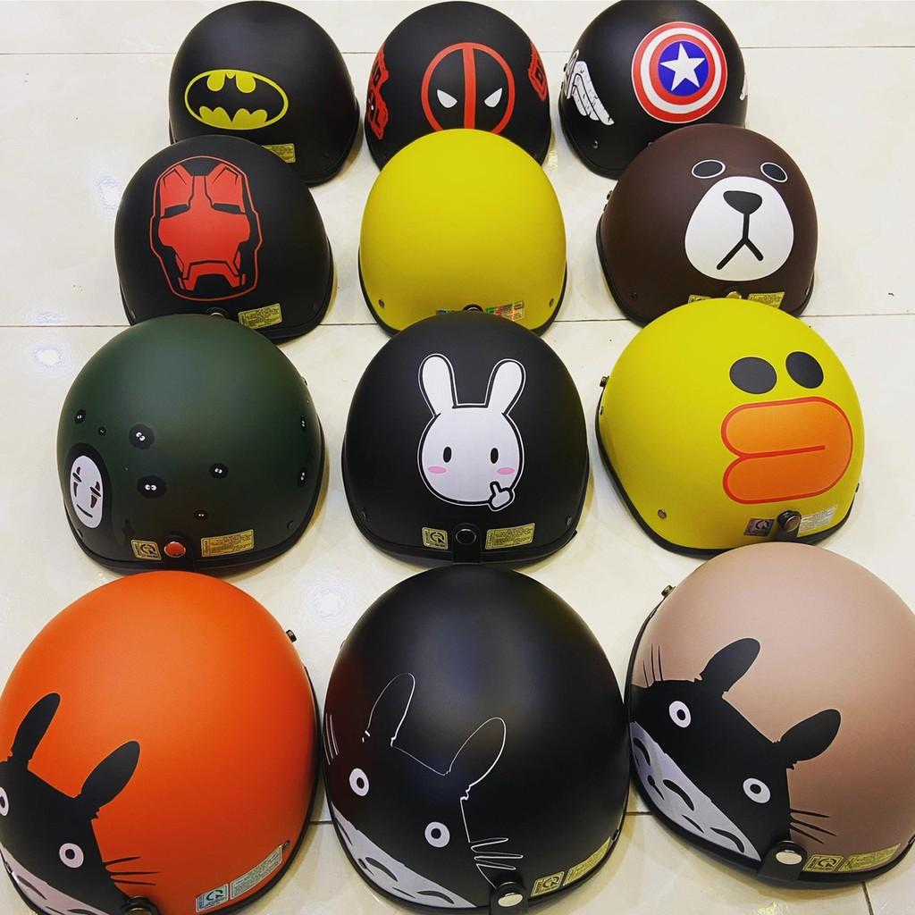 Combo mũ bảo hiểm nửa đầu nhiều hình, free size có kèm kính tùy chọn
