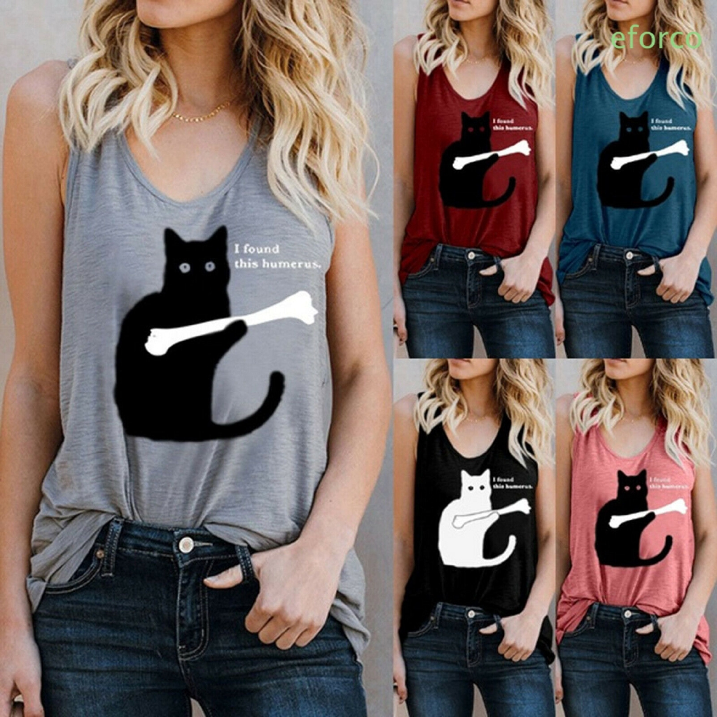 ▶EF Women Sleeveless Cat Printed Summer Causal Tank Tops Basic Crew Neck