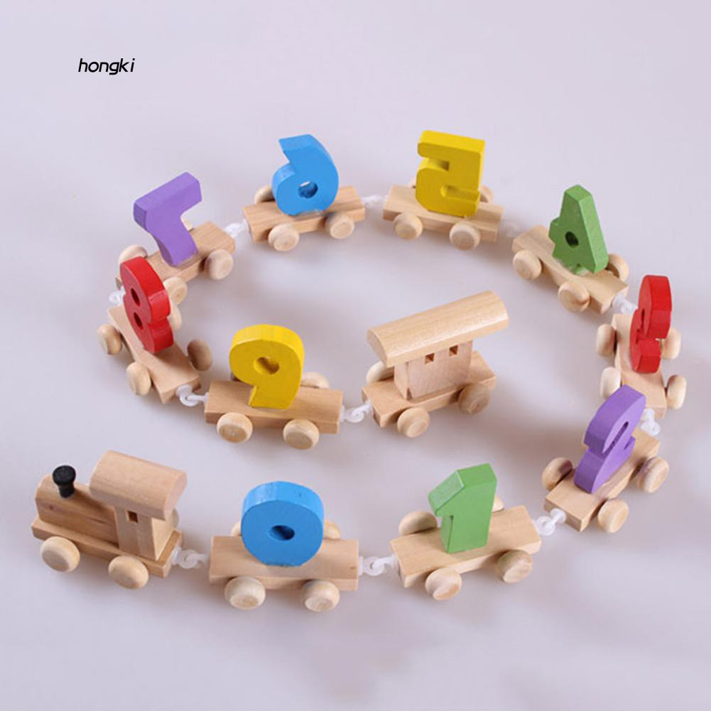 【HKM1】Colorful Number 0-9 Wooden Train Small Railway Model Children Educational Toy