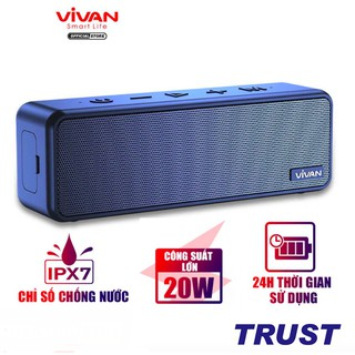 Loa Bluetooth 5.0 VIVAN VS20 Chống Nước IPX7 Công suất 20W Pin 3600mAh Playtime đến 24H Hỗ trợ thẻ Micro SD và cổng AUX