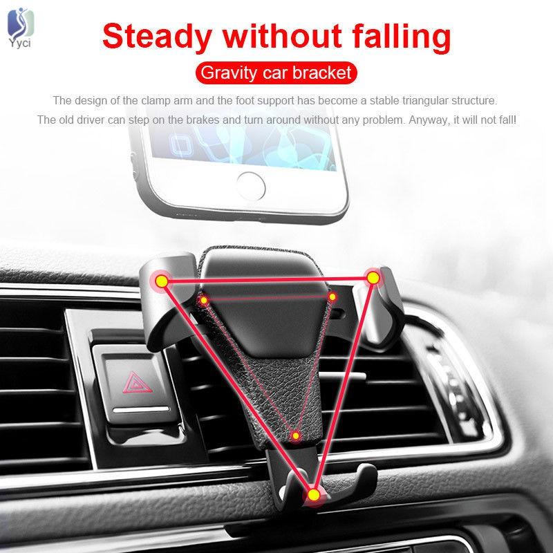 Yy Gravity Car Phone Bracket Air Vent Mount Cradle Holder Universal for Mobile GPS @VN