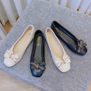 ] Giày Búp Bê Nữ Tiểu Thư Đế 3cm Đế Bệt Da Đính Nơ Xích G02 Kèm Clip và Ảnh Thật