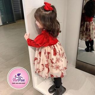 Váy dài tay cho bé, váy nhung đỏ tay bồng điệu đà, chân váy ren bướm là món quà cho bé yêu dịp giáng sinh