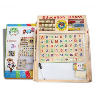 Bảng gỗ nam châm giáo dục 2 mặt cho bé viết vẽ, học số, học chữ cái_giá tốt