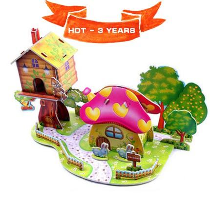 Mô hình nhà bìa ghép kute DIY Căn Nhà Nấm Xinh - Phát triển trí tuệ cho bé (Từ 3 tuổi trở lên) - MO