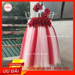 Đầm cho bé ❤️FREESHIP❤️ Đầm trắng pha đỏ tú cầu đỏ quai chéo