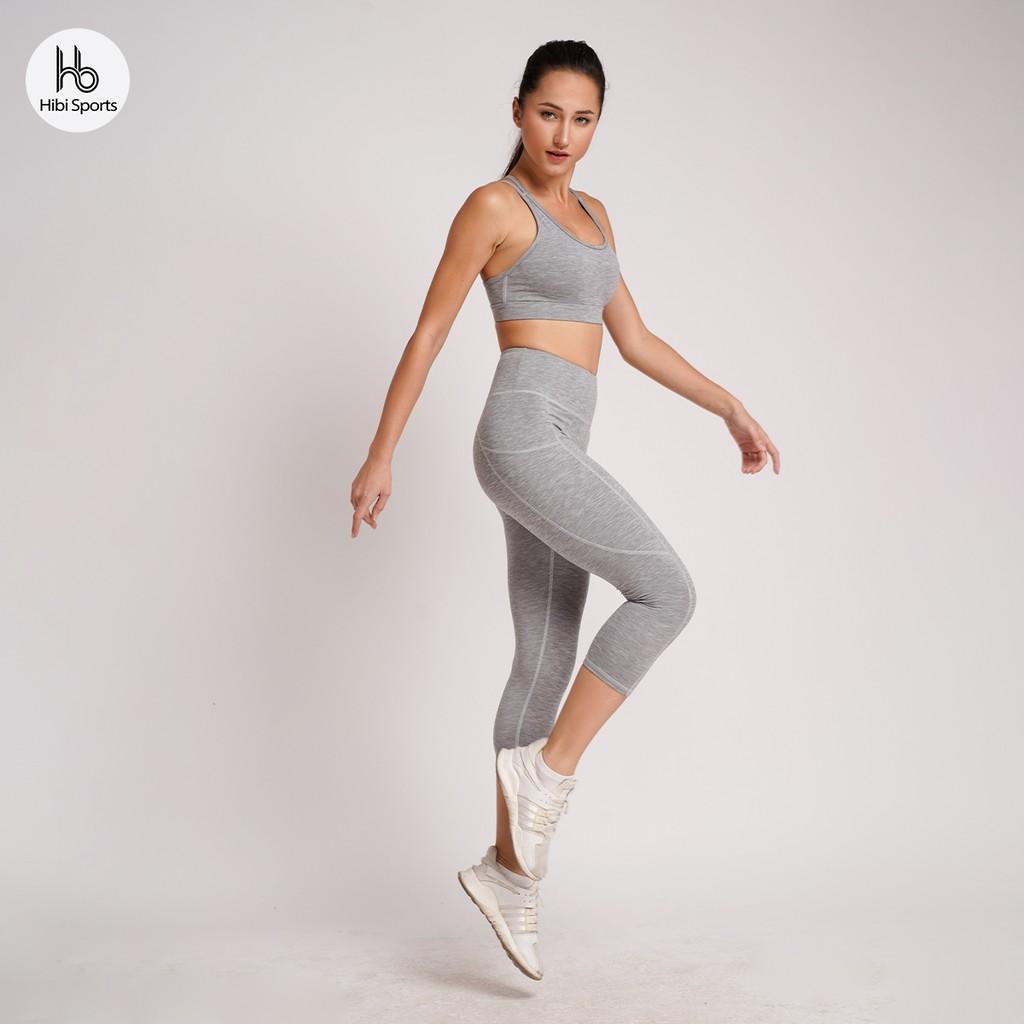 Set đồ tập Yoga - Gym lở 9 tấc 4 dây Lưng cao H111 Hibi Sports - Áo có mút nâng ngực