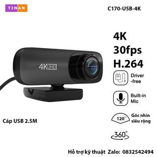 [ 4K 2160P Mic] Webcam Lấy Nét Tự Động, 4K, Camera USB Góc Nhìn Siêu Rộng, Cho Máy Tính, Macbook, Học Online thumbnail