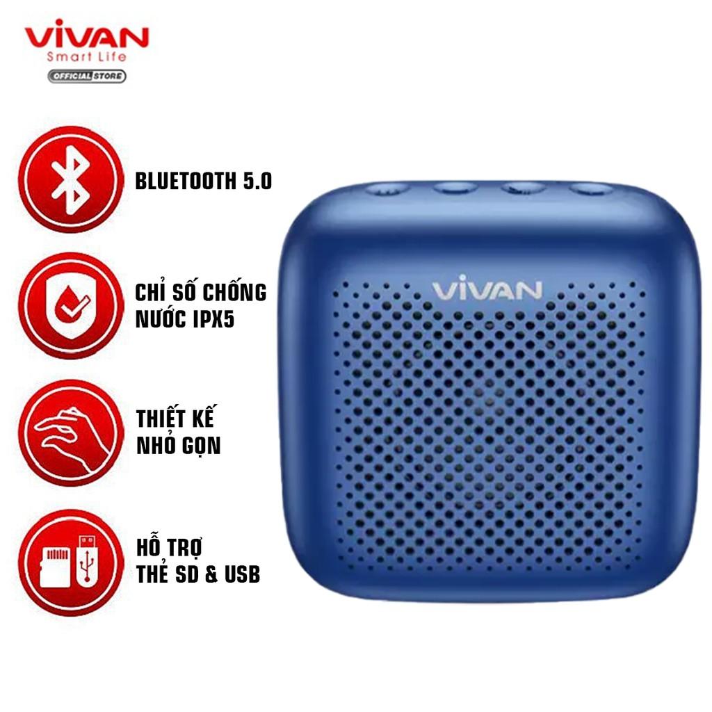 Loa TWS Bluetooth 5.0 VIVAN VS1 Chống Nước IPX5 Công suất 5W 1800mAh Playtime đến 10H