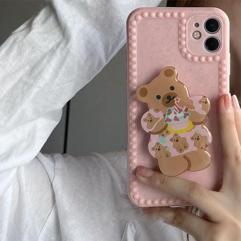 Giá Đỡ Điện Thoại Bằng Nhựa Acrylic Hình Gấu Hoạt Hình Kiểu Hàn Quốc