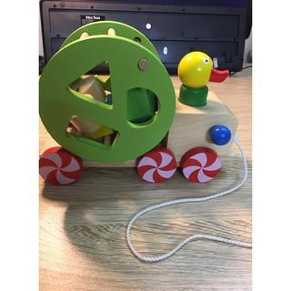 Xe đồ chơi kéo con vịt thả hình khối