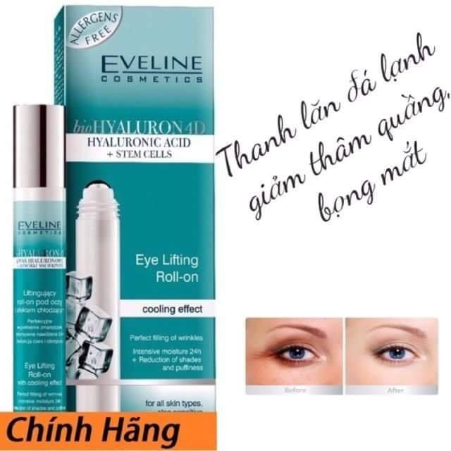 Thanh Lăn Dưỡng Mắt, Giảm Thâm Mắt Eveline Bio Hyaluron 4D (15ml)
