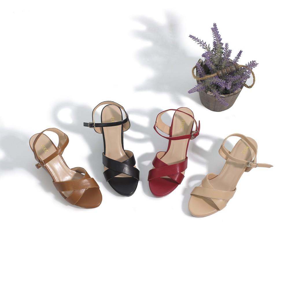 Giày Sandal Pixie Đế Xuồng Quai Chéo 7cm P207 Màu Kem