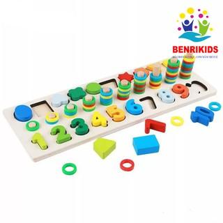 Bộ Giáo Cụ Montessori Cột Tính Học Đếm Và Hình Khối Bằng Gỗ Cho Bé