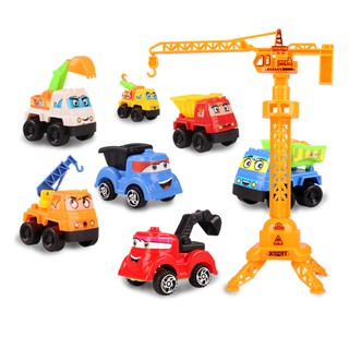 Children Model Toy Plastic Engineering Car Set Toy Simulation Pull Back Car Toys