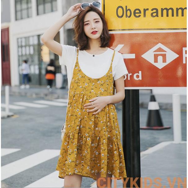 Đầm Bầu Sét Yếm Hoa Nhí - Vàng