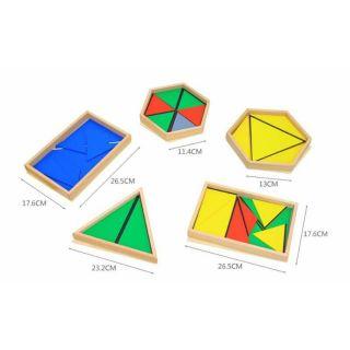 Montessori Bộ 5 hộp hình học