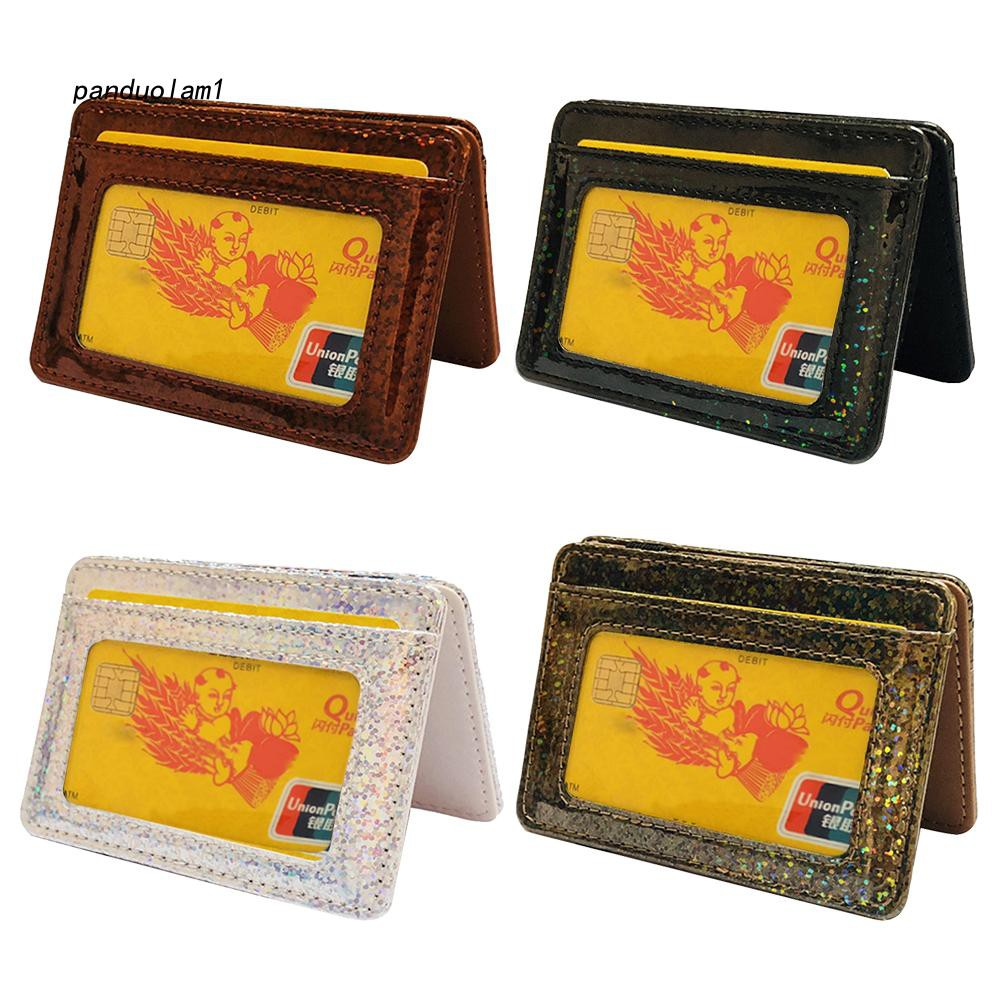 【PDL】&✱Creative Glitter Faux Leather Magic Wallet Unisex Elastic Band Card Cash Holder