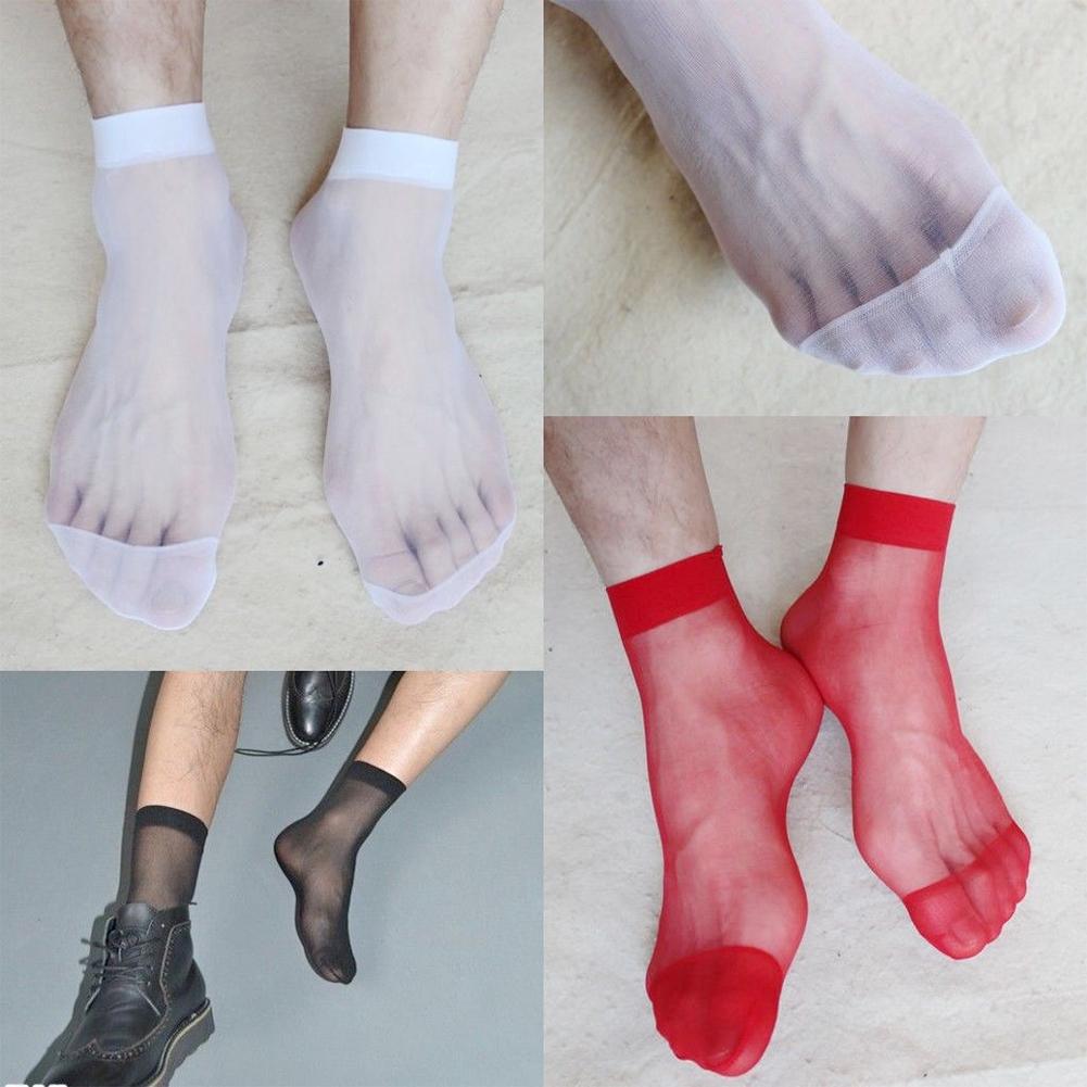 Women Men Transparent Summer Ultrathin Breathable Ankle Short Crystal Silk Solid Sexy Socks