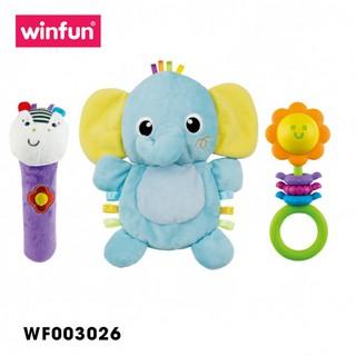 Set 3 đồ chơi cầm tay xúc xắc chíp chíp voi gặm nướu sột soạt Winfun 3026