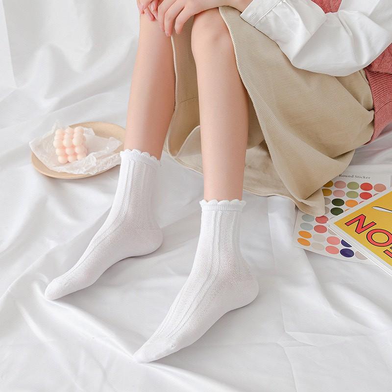 Vớ tất nữ Hàn Quốc len gân cổ cao mẫu mới hot trend TN77