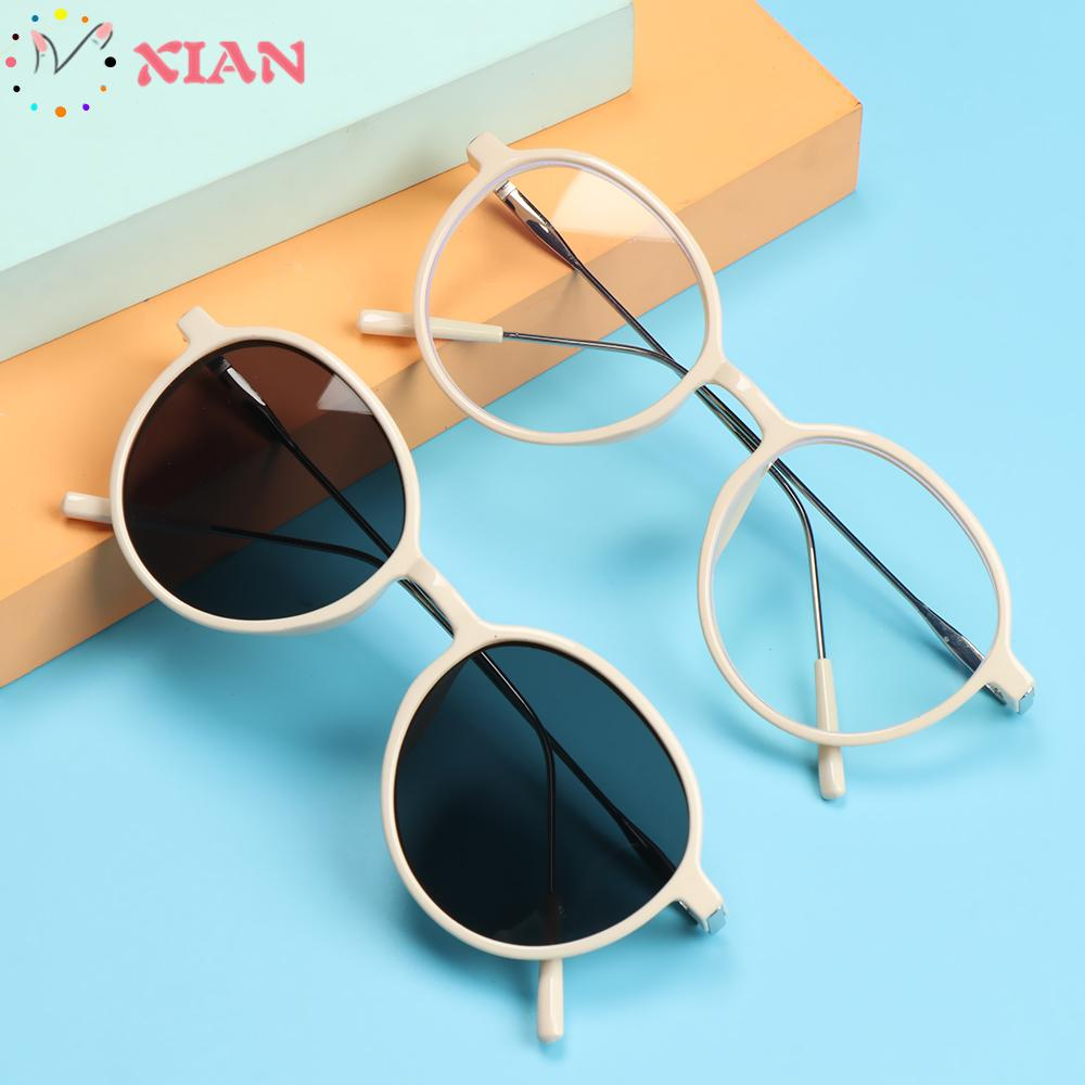 XIANSTORE Women Men Eyeglasses Vintage Ultra Light Frame Anti-Blue Light Glasses Portable Fashion Computer Round Eye Protection