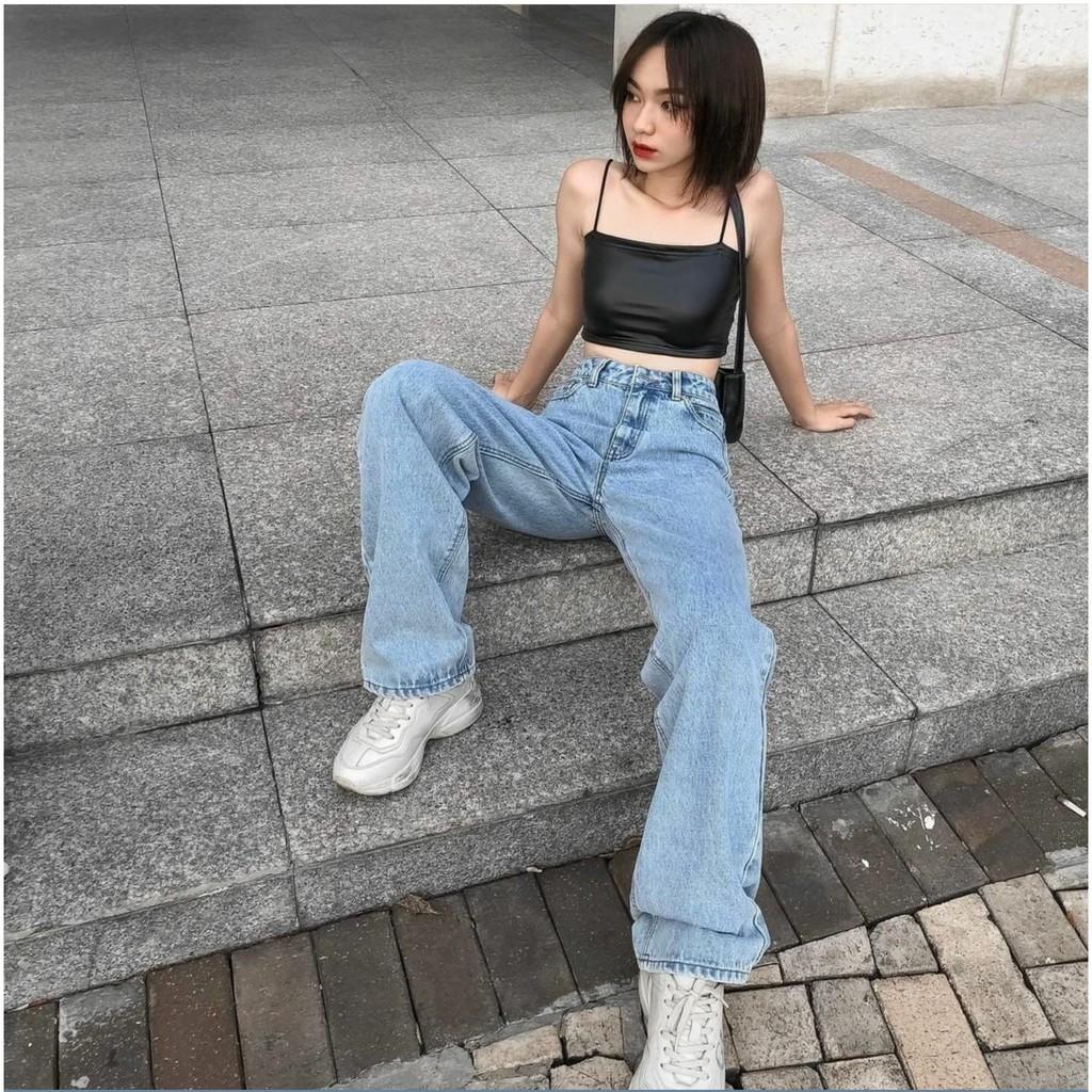 Quần Jeans Nữ Ống Rộng SIMPLE JEANS Xanh Nhạt Lưng Cao Dáng Suông Ulzzang