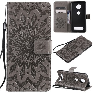 Casing sun flower embossed leather shell For Motorola Moto Z4 Play phone