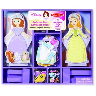 Melissa & Doug Disney Sofia đầu tiên và công chúa hổ phách từ Dress-Up búp bê bằng gỗ giả vờ chơi Set (40 + chiếc)