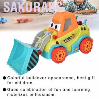 Sakurabc Puzzles Toys Kid's Electric Bulldozer DIY Disassembly Toy Children's Educational Intellectual Development T