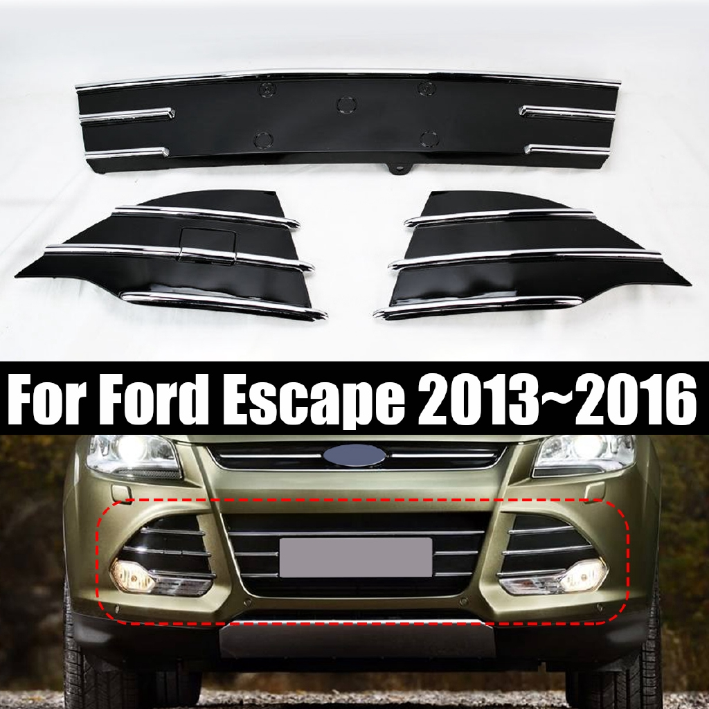 Black + Chrome Front Bumper Lower Grills Fog Covers For Ford Escape 2013~2016
