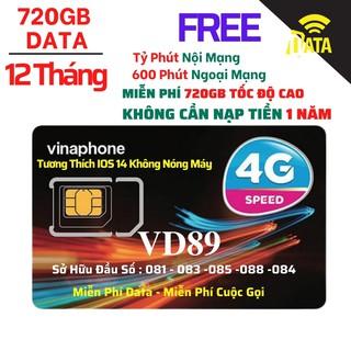 SIM4G VD89 D60G Vinaphone ( Miễn phí Gọi + Vào Mạng 1 Năm Tốc Độ Cao )Có Video kèm test Tốc Độ,Bảo Hành 12 Tháng