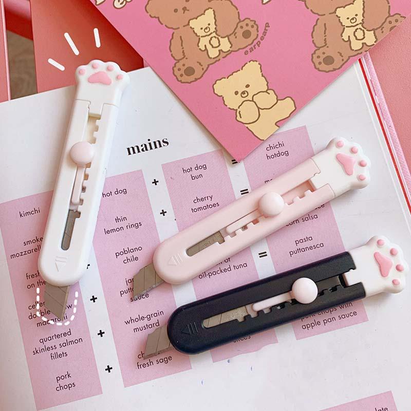 Dao rọc giấy cỡ nhỏ thiết kế hình chân mèo dễ thương tiện dụng