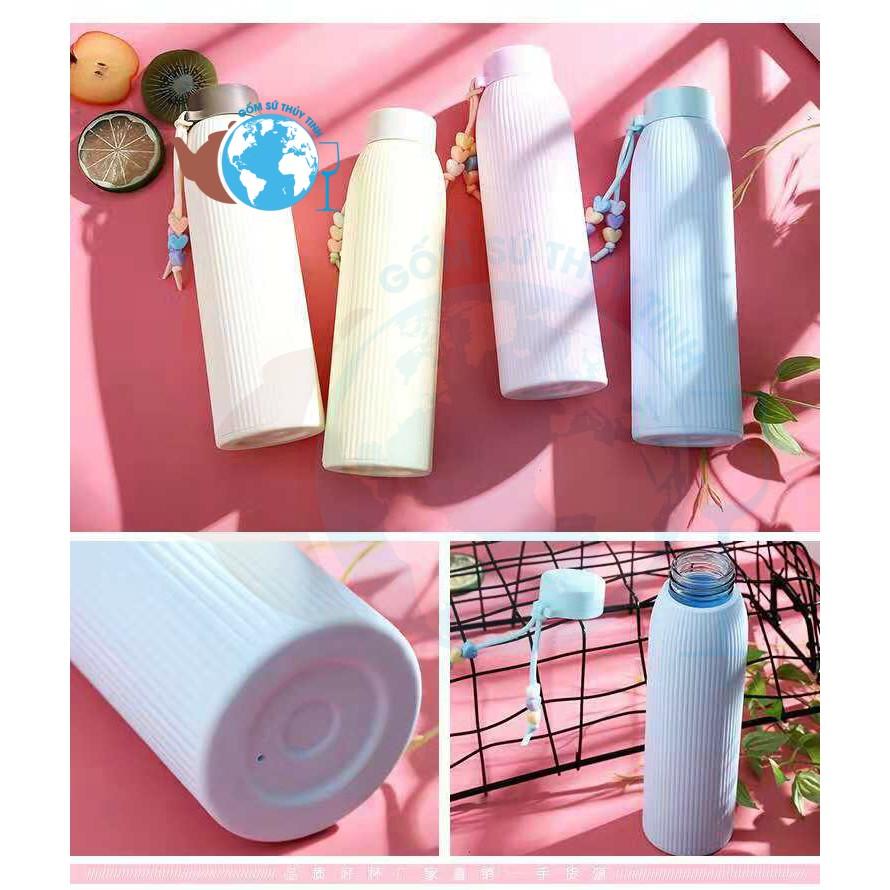 BGN01 Bình nước thủy tinh giữ nhiệt 420ml vỏ bọc silicon