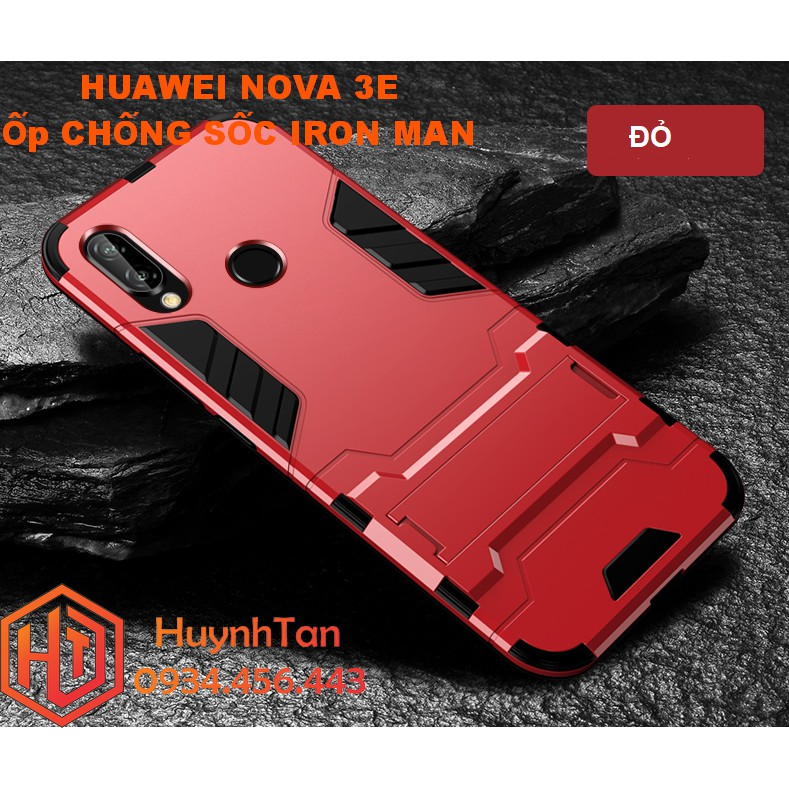 Ốp lưng Huawei Nova 3E _ Ốp chống sốc Iron man có chân chống (màu đỏ)