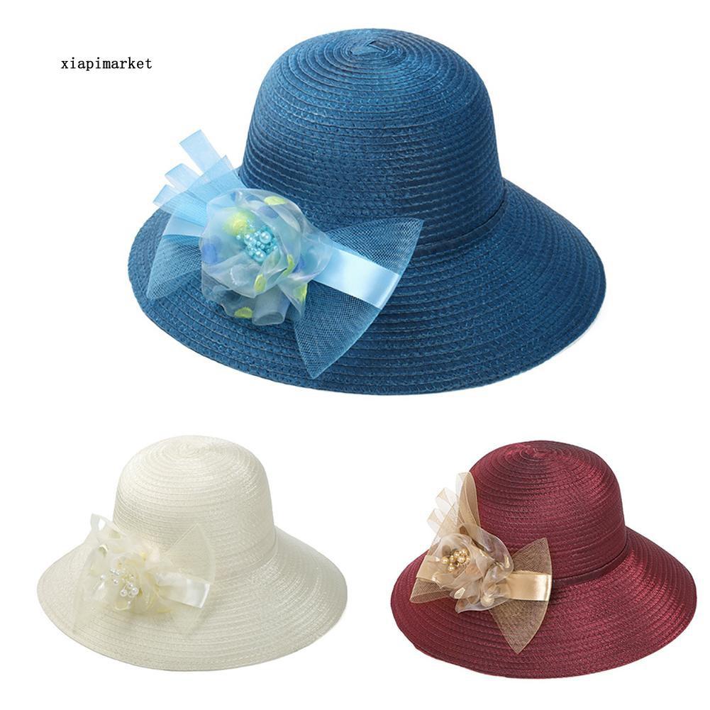 XP_Women's Faux Pearl Gauze Bowknot Bowler Bucket Hat Wide Brim Outdoor Sun Cap