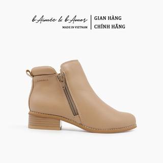 Boot nữ Cao Gót bAimée & bAmor Cổ Thấp Mũi Tròn Gót Vuông Cao 2cm Giày Bốt Đẹp Da Mềm Cao Cấp Màu Đen Kem Nâu - M1617