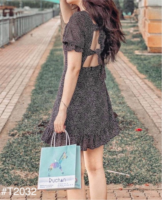 Mặc gì đẹp: Tung bay với Đầm Xinh LISA DRESS chất vải voan hoạ tiết chấm bi nhí thiết kế thắt nơ lưng sexy có sẵn mút ngực đuôi váy xoè nhẹ