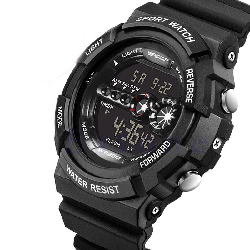 Đồng hồ thể thao màn hình đèn LED chống thấm nước phong cách quân đội cá tính cho nam