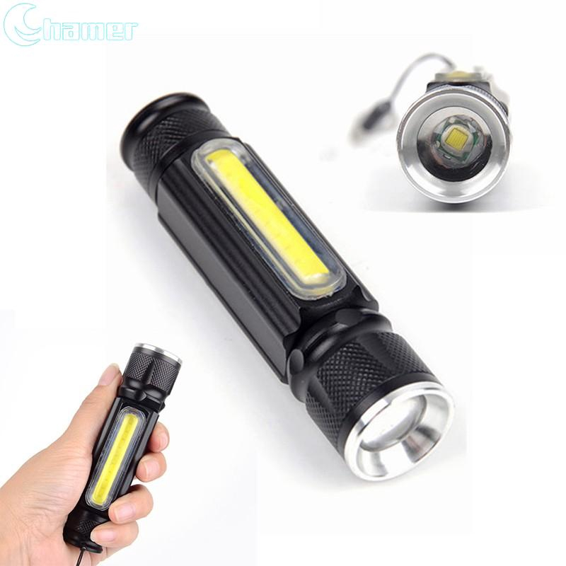 Super bright Flashlight XML-T6+COB Zoomable USB Light Torch Waterproof Outdoor